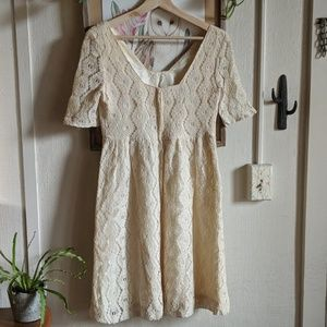 Vintage Dresses - Vintage 50s-60s lace boho babydoll dress